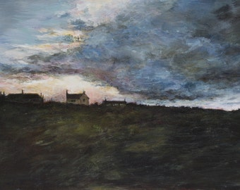 Signed Coastal Fine Art Giclée Print from Original Oil Landscape Painting of Northumberland Evening Sunset in the Dunes of an English Beach