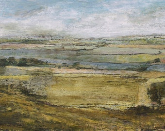 Signed Patchwork Fields Fine Art Giclée Print, from Original English Landscape Oil Painting, Richmond North Yorkshire