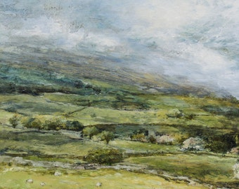 Swaledale fields North Yorkshire Giclée Art Print from Original English Oil Summer Landscape Painting in the Yorkshire Dales countryside