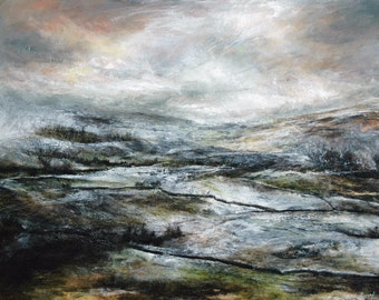 Snowy Yorkshire Dales Landscape Fine Art Wall Print, from Original British Oil Painting, Wensleydale, Yorkshire Dales North Yorkshire