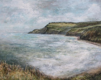 Coastal Path Fine Art Print from Original Oil Atmospheric Painting, North Yorkshire Seascape, Ravenscar North East Coast English Painting