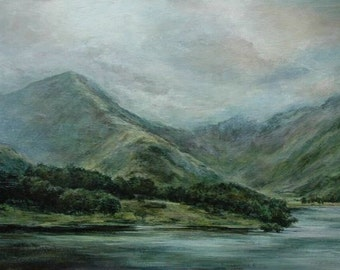 Buttermere, Lake District, Mountains and Lake in Cumbria - English Fine Art Wall Print from Original Oil Landscape Painting Honister Pass