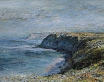 Coastal Giclée Art Print Original Oil Painting  of Summer Cliffs at Ravenscar Scarborough North Yorkshire Coast, atmospheric beach