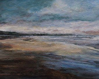 Signed Beach Sunset Art Print from Original Oil Painting Northumberland, Bamburgh, Atmospheric English Coast