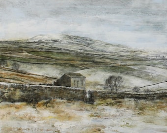 The Yorkshire Dales in Winter Snow Landscape Art Giclee Print from Original Oil Landscape Painting