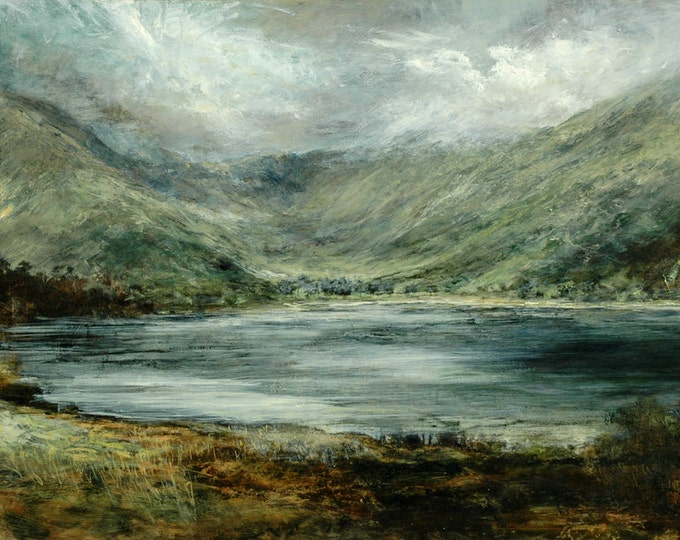 Featured listing image: Buttermere Lake District, Cumbrian Landscape Signed Giclée Fine Art Mountains and Lake Print from Original Oil Landscape Painting