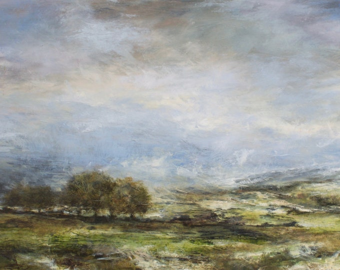 Featured listing image: Yorkshire Dales Giclée Fine Art Print Castle Bolton Wensleydale in Spring View Across Fields from Original Landscape Oil Painting