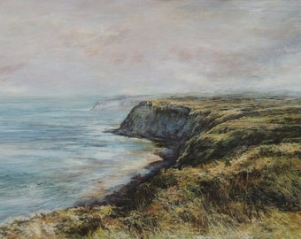 Seaside Summer Cliffs Beach Seascape Ravenscar, Scarborough North Yorkshire Coast Art Giclée Print  from Original Oil Painting