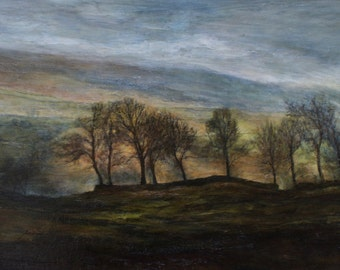 Landscape Fine Art Giclée Print from Original Oil Painting Atmospheric Evening Sunset and Trees on a Hilltop, Yorkshire Dales, Bisphopdale