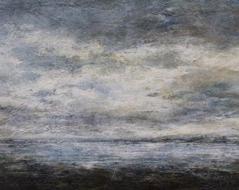 Seascape Art Wall Print- Lindisfarne (Holy Island) Seascape, Northumberland, Coastal Fine Art Print from Original Oil Painting