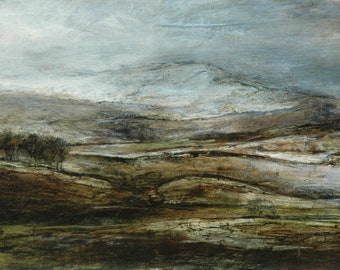 Yorkshire Dales winter snow Landscape Signed Fine Art Giclée Wall Print of Hawes from Original Oil Painting by British Artist Sue Lawson