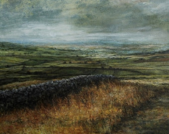 Yorkshire Dales Fine Art Giclée Wall Print, Patchwork Fields from Original Oil Atmospheric  English Landscape Painting of North Yorkshire
