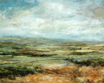 Yorkshire Dales Fields Landscape Art Print Abstract Patchwork Fields Wensleydale from Original Oil Painting