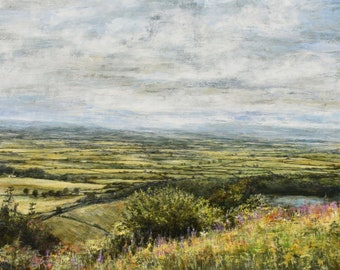 Original Giclée Fine Art Landscape Print of The North Yorkshire Moors Sutton Bank Thirsk, The Yorkshire Dales, James Herriot's Famous View,