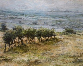 Original English Oil Landscape Painting on board, Fields in the Yorkshire Dales