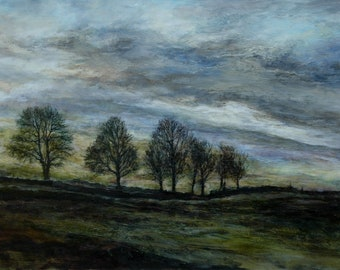 Trees on a hill in The Dales Landscape Fine Art Giclée Wall Print from Original English Oil Painting of The Yorkshire Countryside, Richmond