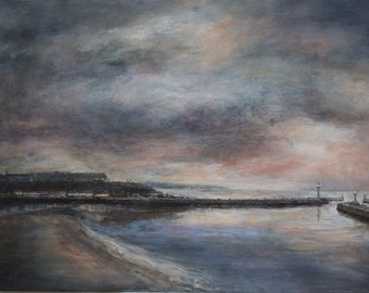 Coastal Fine Art Signed Print from Original Oil Painting of Whitby Harbour Evening Atmospheric Harbour Sunset Seaside North Yorkshire