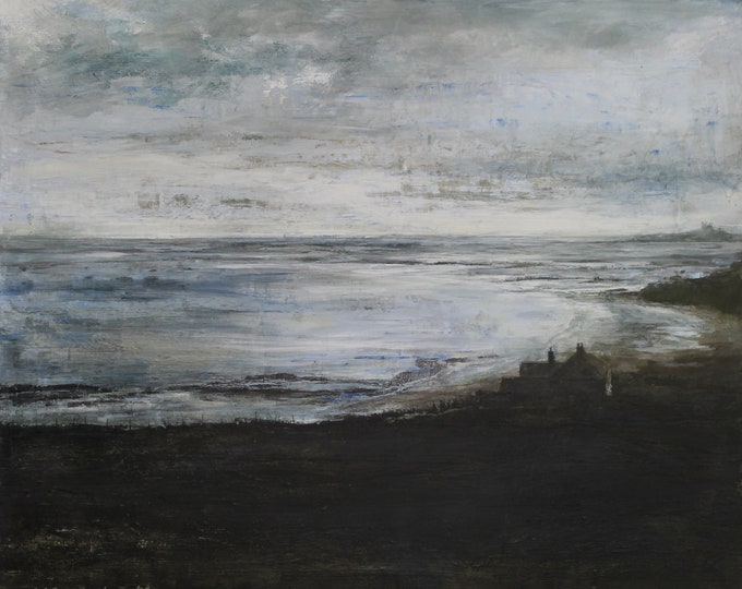 Featured listing image: Coast Fine Art Signed Giclée Wall Print Evening Tide Northumberland Beach, Original Oil Painting, Seaside Wall Art, Bamburgh Castle coast