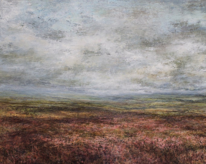 Featured listing image: North Yorkshire Moors, Signed Art Wall Print from Original Oil Painting, Castleton, Rosedale, Grosmont, Yorkshire Coast, Moorland Heather
