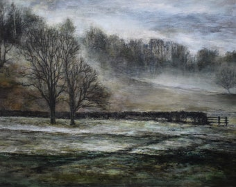 Winter Trees Atmospheric Signed English Lake District Giclée Art Wall Print from Original Oil Landscape Painting of Grasmere Cumbria
