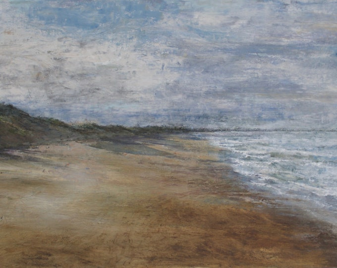 Featured listing image: Northumberland Summer Beach Giclée Signed Art Print of Bamburgh Beach from Original Oil English Landscape Seaside Painting