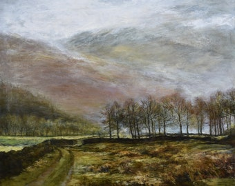 Grasmere The Lake District, Signed Giclée Fine Art Print of Cumbrian Mountains in the rain from British Original Oil Landscape Painting