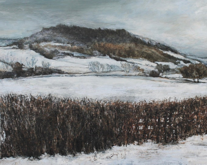 Featured listing image: Winter Snow Giclée Fine Art Print from Original English Woodland Oil Painting of British trees in the North Yorkshire countryside