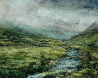 The Lake District Honister Pass Signed Landscape Print Gatesgarthdale Beck nr Buttermere Giclée Art Print from Original Oil Painting