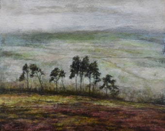 Original Landscape Oil Painting by British Artist Sue Lawson, Eskdale Scots Pine Trees - North York Moors. Atmospheric English Countryside