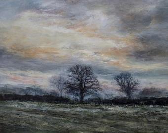 Winter Trees English Landscape Frost Evening Skies Fields Art Print Richmond North Yorkshire