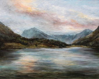 Lake District Fine Art Giclée Landscape Print, Buttermere from Original Lake Oil Painting Evening Sunset in Cumbria English Countryside