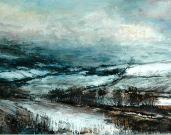 Snow Giclée Fine Art Wall Landscape Print from Original Winter English Oil Landscape Painting of North Yorkshire