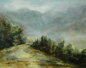 Lake District Mountains Art Print Cumbria Ambleside from Original Oil Landscape Painting