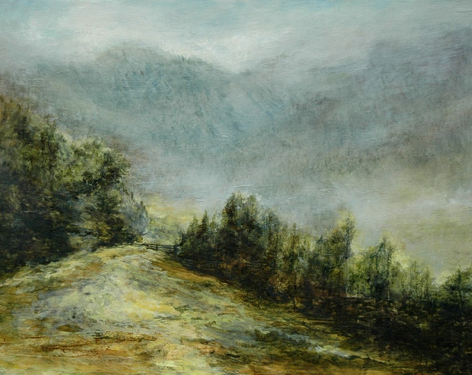 Featured listing image: Lake District Mountains Kirkstone Pass  Giclée Signed Art Print from Atmospheric Original Oil Landscape Painting near Ambleside Cumbria