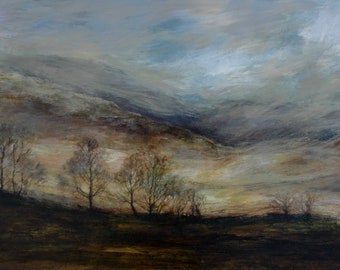Lake District Mountains in Autumn Fine Art Landscape Print from Original Oil Painting -Cumbria, Langdales Ambleside Atmospheric English View