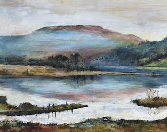 Grasmere Lake District Autumn Sunset Signed Giclée Landscape Art Print from Original English Oil Painting