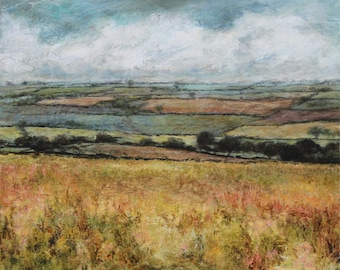 Signed Fine Art Print from Original Oil Landscape Painting of Patchwork fields, Yorkshire Dales Wensleydale Art Giclee English Wall Art