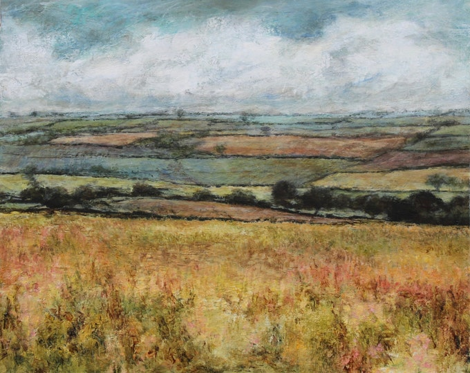 Featured listing image: Signed Fine Art Print from Original Oil Landscape Painting of Patchwork fields, Yorkshire Dales Wensleydale Art Giclee English Wall Art