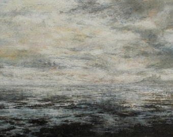 Bamburgh Castle and Beach Atmospheric Signed Giclée Northumberland Art Moody Coastal Print from Original Oil Landscape Painting