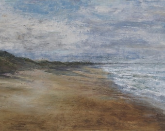 Northumberland Summer Beach Giclée Signed Art Print of Bamburgh Beach from Original Oil English Landscape Seaside Painting