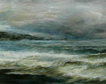 Coastal Whitby Sandsend North Yorkshire Coast Signed Seaside Marine Giclée Art Print English Dramatic Seascape From Original Oil Painting