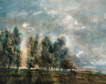 Trees Giclée Signed Art Wall Print  Atmospheric English Landscape  Original British Oil Painting of Poplar trees in the Evening Light