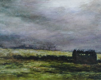 English Summer Field Atmospheric Landscape Print, Giclée Fine Art Abandoned Yorkshire Dales Barn, Crakehall Print from Original Oil Painting