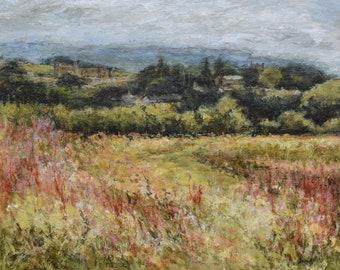 Landscape Fine Art Signed Print of Yorkshire Dales from Original Oil Painting, Middleham, Leyburn, Spennithorne, Harmby, summer fields