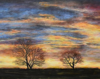 Celestial Sunset Silhouetted Trees on the Horizon Dramatic Sunset Landscape Giclée Signed Art Wall Print North Yorkshire Moors Night Skies