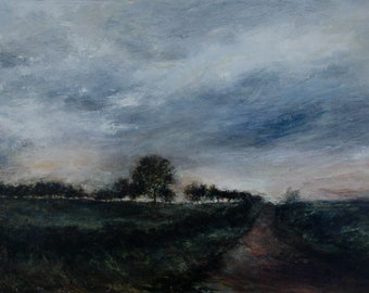 Evening Landscape Signed Giclée Art Print Bedale Country Lane 'The Last Fleeting Light'  Atmospheric Sky in Wensleydale North Yorkshire