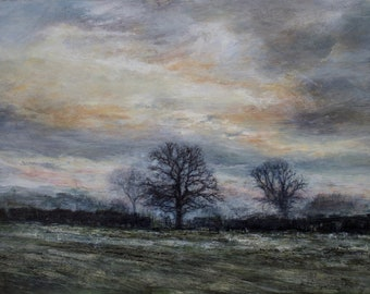 Winter Trees Signed Giclée Art Landscape Wall Print, Evening Skies and Frosty Fields of Original Oil Painting, Richmond North Yorkshire