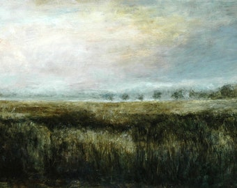 English Wheat Field Landscape Giclée Signed Fine Art Print from Original British Oil Painting of the Atmospheric Yorkshire Countryside