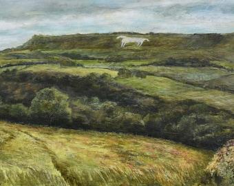 The White Horse of Kilburn North Yorkshire Landscape Fine Art Giclée Signed Print of Chalk Horse Geoglyph Hambleton Hills North Yorks Moors