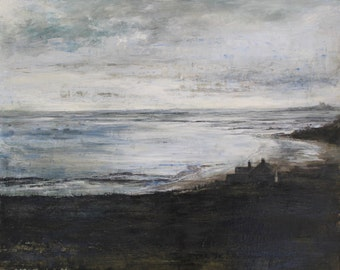 Coastal Beach Evening Low Newton by the Sea Dunstanburgh Castle Northumberland Art Print Limited Edition from Original Oil Painting